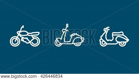 Motorcycle Line Icon Set. Sportbike, Scooter. Motorcycle Line Icon Set. Sportbike, Scooter.