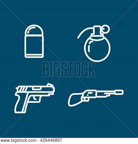 Pistol, Hand Grenade, Bullet, Gun, Weapons Line Icon Set. Pistol, Hand Grenade, Bullet, Gun, Weapons