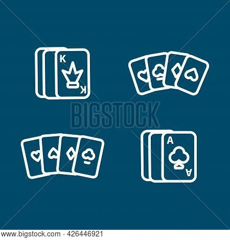 Four Aces Playing Cards, Card Line Icon Set. Four Aces Playing Cards, Card Line Icon Set.