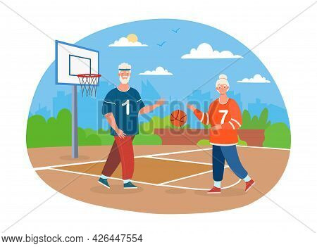 Elderly Grey Couple Is Playing Basketball Together. Concept Of Outdoor Activity For Old Senior Peopl