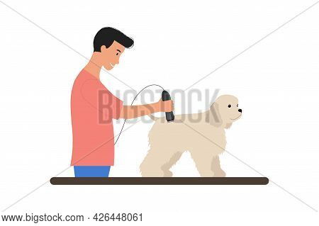 Man With Trimmer Grooming Cute White Puppy. Scene With Caring Of Pet, Cutting Fur. American Cocker S