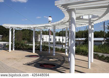 Bogoroditsk, Tula Oblast, Russia - June 25 2021. Modern Arrangement Of The Embankment: Gazebos With