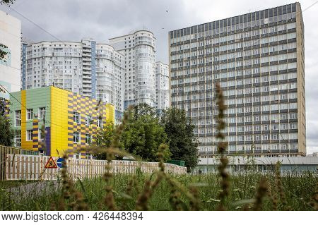 Moscow, Russia - 10 July 2021, Modern Residential Buildings And A Kindergarten In The South-west Met