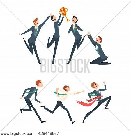 Business Competition And Rivalry With Man Running Marathon And Gaining Award Vector Set