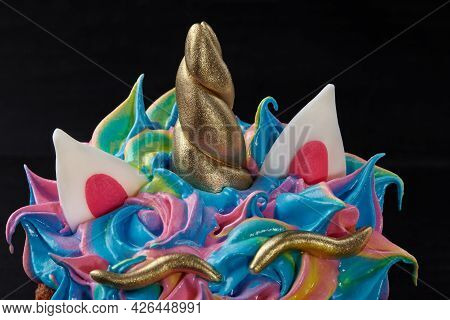 Details From Pastry Mastic On Colorful Whipped Egg Whites On Easter Cake