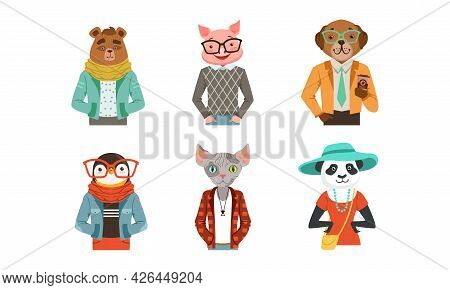 Hipster Animal With Body Dressed In Human Clothing And Garment Vector Set
