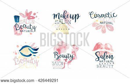 Beauty Salon Or Beauty Parlor Watercolor Logo Design Vector Set