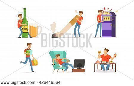 Bad Habit With Man Addicted To Alcohol, Smoking And Gambling Vector Set