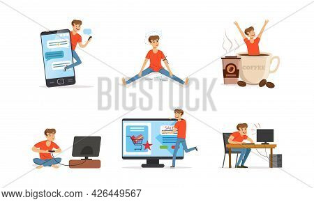 Bad Habit With Man Addicted To Coffee, Drugs And Video Games Vector Set