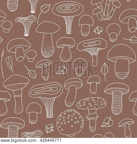 Edible And Inedible Mushroom Seamless Pattern With A Collection Of Linear Icons On A Brown Craft Bac