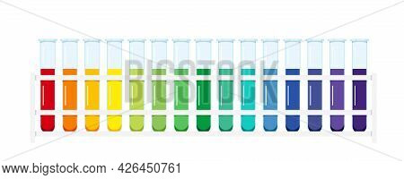 Standard Ph Chart Aqueous Solution In Glass Test Tubes In Lab Rack Isolated On White Background.
