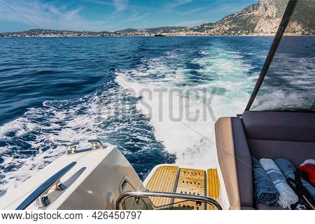 Luxury Motor Yacht In The Azure Mediterranean Sea At Full Speed.expensive Yacht. High Quality Photo