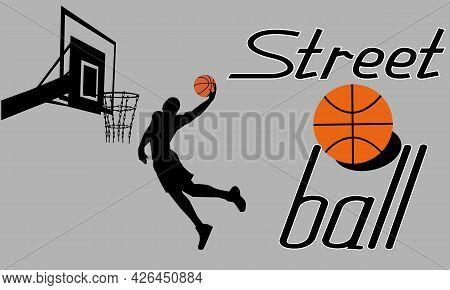 Basketball Player Silhouette With Ball And Basketball Backboard