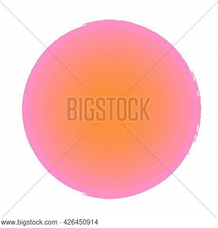 Circle Vector Background From 5 Layers With A Smooth Color Transition From Pink To Orange, Concentri