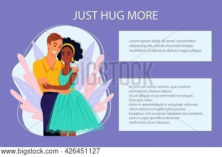 Multiracial Couple In Love, Banner In Support Of Multiracial Couples, Vector Illustration In Flat St