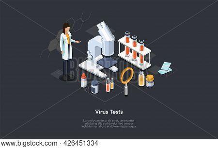 Virus Tests, Medicines Development, Microbiology Laboratory Conceptual Illustration. Isometric Vecto