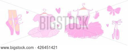 Vector Set Of Pink Ballet. A Hand-drawn Doodle-style Ballet Tutu, Pointe Feet, A Bow And A Baby Dres