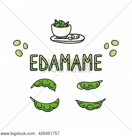 Cute Edamame Isolated Clipart Illustration. Hand Drawn Japanese Soy Bean Snack Flat Vector Clip Art.