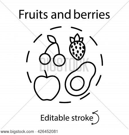 Fruits And Berries Concept Outline Concept Icon. Kids Menu Concept. Healthy Eating. Isolated Vector