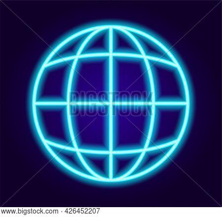 Neon Internet Web Sign Symbol.abstract Web Symbol Neon Blue For Concept Design. Website Vector Icon.