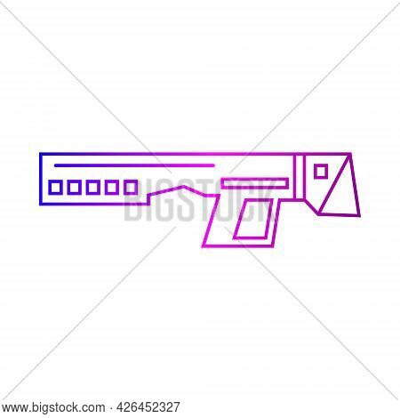 Cyberpunk Gun Outline Icon. Futuristic Weapon. Science Fiction, Game, Confrontation Between Humans A