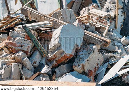 Ruins Of Broken Building. Demolished Concrete Building Debris. Destructed House.