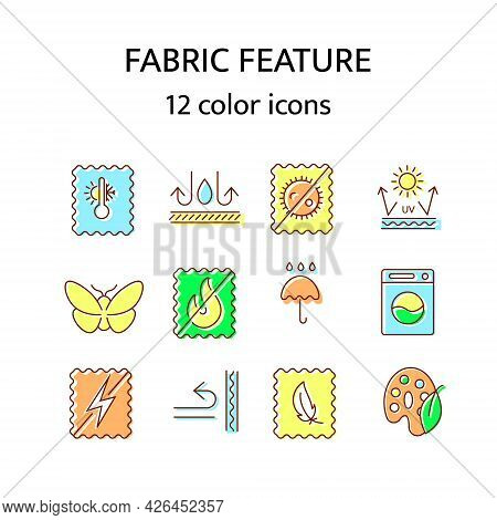 Fabric Feature Flat Icon. Material Quality. Fiber Type. Textile Industry. Easy Care, Moth Protection