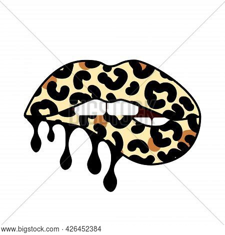 Bitting Lips With Leopard Print. Dripping Paint. Cheetah Design. Isolated Vector Illustration. Trend