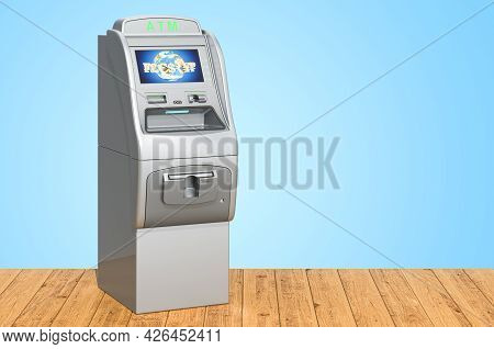 Atm, Automated Teller Machine On The Wooden Planks, 3d Rendering