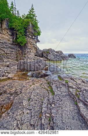 Rocky Shores On The Great Lakes On Lake Huron In Bruce Peninsula National Park In Ontario