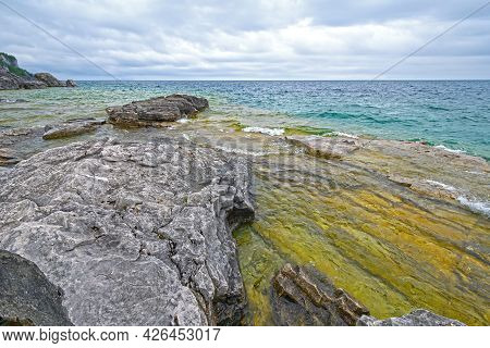 A Cloudy Day On A Wilderness Shore Of The Great Lakes On Lake Huron In Bruce Pennisula National Park