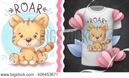 Childish Cartoon Character Animal Tiger - Idea For Print T-shirt. Hand Draw