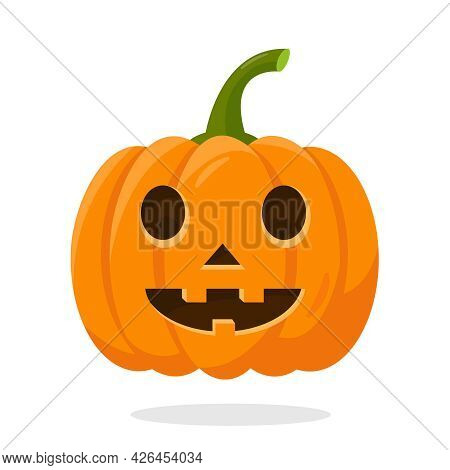 Orange Bright Halloween Pumpkin Isolated On White Background. Funny Pumpkin Face For Autumn Holiday.