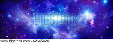 Cosmic Background With Stars And A Bright Flash Of A Star In Outer Space