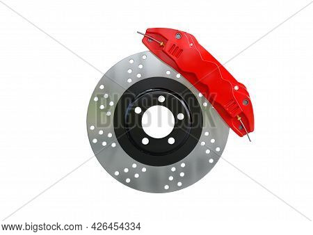 Car Disc Brake Isolated On White Background. 3d Rendering
