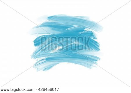 Natural Blue Watercolor Flick Brush Labels. Shapes On White Background. Hand Drawn Ink Water Paint S
