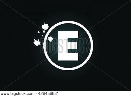 Initial E Monogram Letter Alphabet In A Circle With Brush Splash. Font Emblem. Modern Vector Logo De