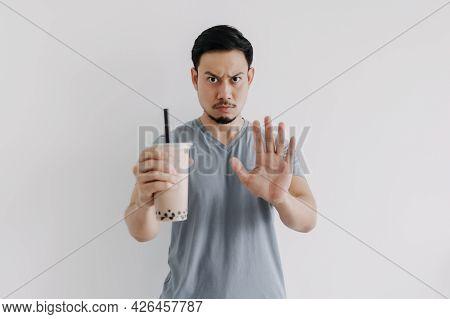 Asian Man Say No To Boba Tea Or Bubble Tea As The Calories Is Too High.