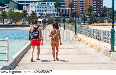 Melbourne, Victoria / Australia - 11/01/2019 St Kilda Beach Is A Beach Located In St Kilda, Port Phi