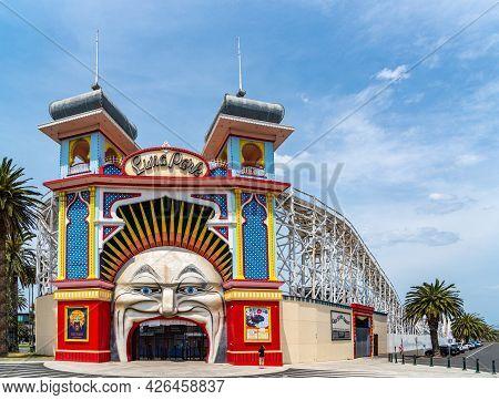 Melbourne, Victoria / Australia - 11/01/2019 Luna Park Melbourne Is A Historic Amusement Park Locate
