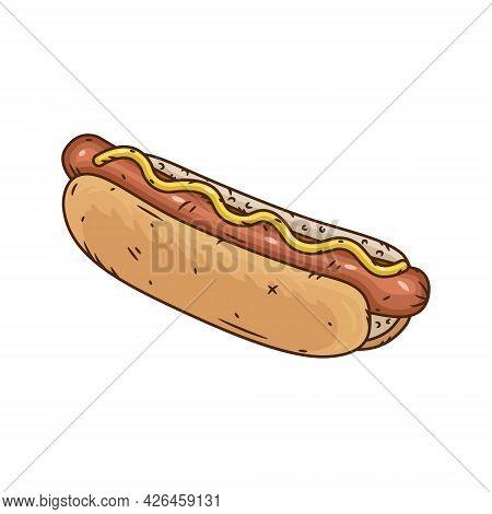 Hot Dog. Hand Drawn Vector Illustration With Hot Dog.