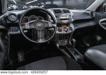 Novosibirsk, Russia - June 29, 2021: Toyota Rav-4, Car Interior - Steering Wheel, Shift Lever And Da