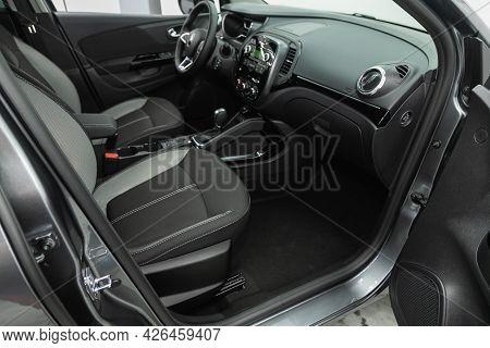 Novosibirsk, Russia - June 29, 2021: Renault Kapture, Car Interior - Steering Wheel, Shift Lever And