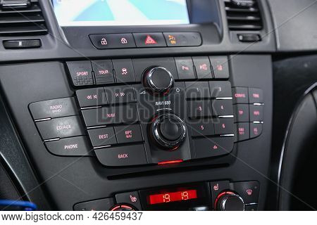 Novosibirsk, Russia - June 29, 2021: Opel Insignia, Radio, Audio System With Monitor  And Control Bu
