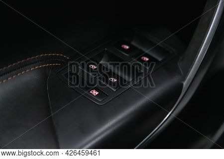 Novosibirsk, Russia - June 29, 2021: Opel Insignia, Close-up Of The Side Door Buttons: Window Adjust