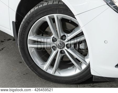 Novosibirsk, Russia - June 29, 2021: Opel Insignia,  Close Up Of The Car Front Detail With  Light-al