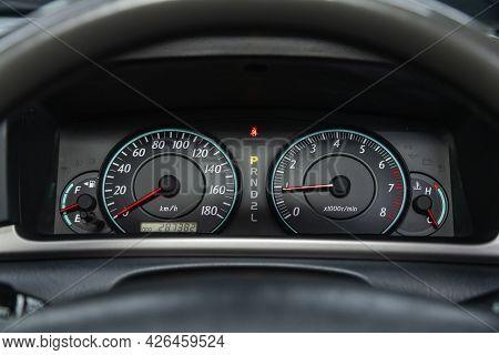 Novosibirsk, Russia - June 29, 2021: Toyota Filder,car Panel, Digital Bright Speedometer, Odometer A