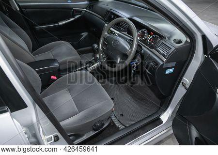Novosibirsk, Russia - June 29, 2021: Toyota Filder, Car Interior - Steering Wheel, Shift Lever And D