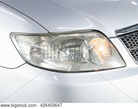 Novosibirsk, Russia - June 29, 2021: Toyota Filder,  Close Up Of The Car Headlights. Exterior Closeu