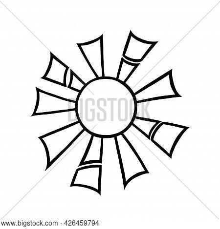 Handdrawn Sun With Beams. Shining Sun In Doodle Style. Black And White Vector Illustration Isolated